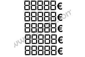5 stickers chiffres digitaux