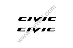 2 Stickers Civic 50 cm